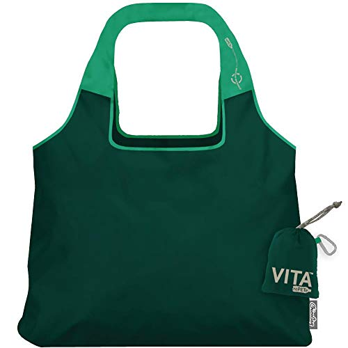 ChicoBag VITA rePETe Shoulder Tote Reusable Bag with Pouch, Zen Green