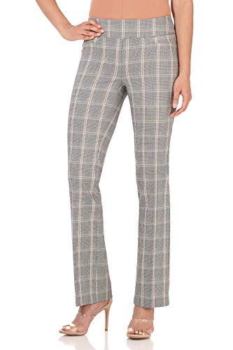 Rekucci Women's Ease in to Comfort Boot Cut Pant (6SHORT,Oatmeal Prince of Wales)