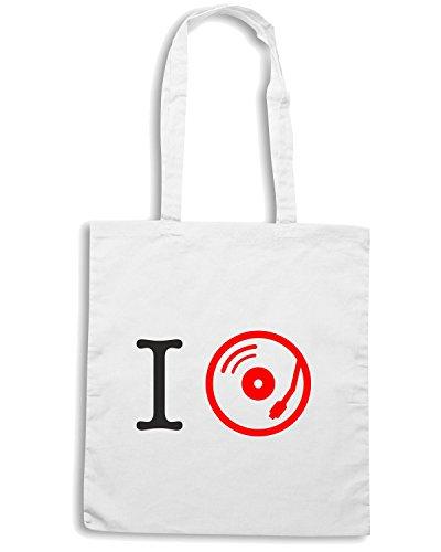 T-Shirtshock - Bolsa para la compra T0097 i love music Blanco