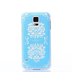 MOM Color Decoration Fancy Blue Flowers Pattern Plastic Hard Case for Samsung S5 I9600