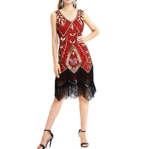 Keliay Bargain Women Vintage 1920s Bead Fringe Sequin Lace Party Flapper Cocktail Prom Dress ()