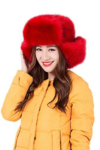 Modelshow Mujeres Moda Estilo ruso piel sintética de Trapper sombrero con orejas Rosso