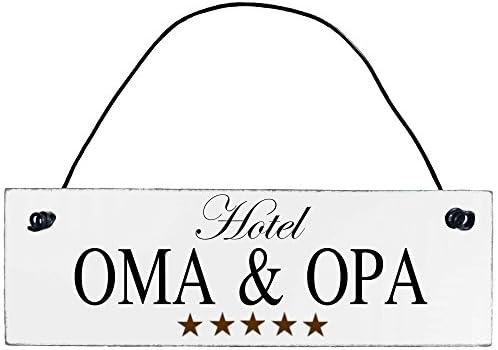 Pension OMA /& Opa Vintage Shabby Deko-Wandbild//T/ürschild ARTFAVES Holzschild mit Spruch