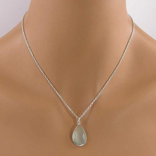 (Aqua Blue Chalcedony Sterling Silver Teardrop Bezel Necklace)