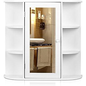 hygena bathroom wall cabinet white gloss this item multipurpose kitchen medicine storage organizer mirror single door finish wal