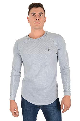 YoungLA Long Sleeve T-Shirts for Men Raglan Ribbed Thermal 414 Sky Acid Washed Medium
