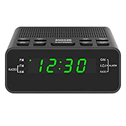 Digital Alarm Clock Radio, Alarm Clocks for Bedrooms with AM/FM Radio, Sleep Timer, Dimmer and Easy Snooze - 0.6 Green LED Numbers