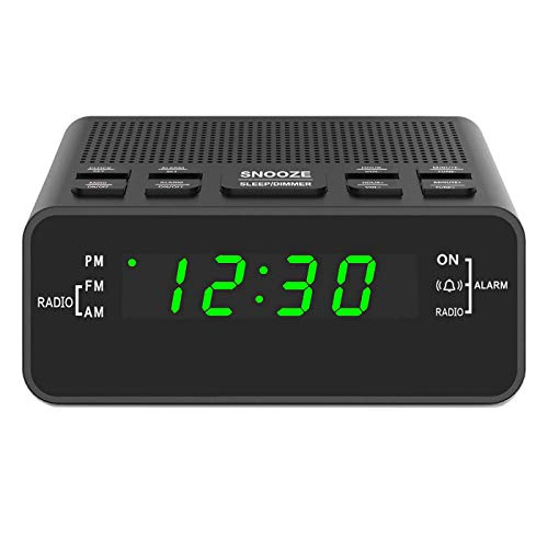 Digital Alarm Clok Radio, Alarm Clocks for Bedrooms with AM/FM Radio, Sleep Timer, Dimmer, Easy Snooze, Battery Backup - 0.6 Green LED Digits
