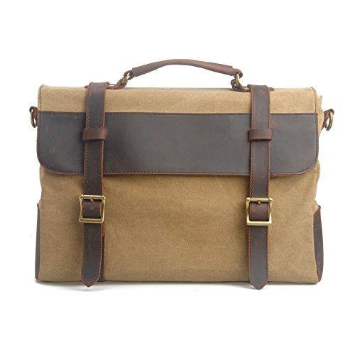 VRIKOO Canvas Genuine Leather Briefcase Satchel Shoulder Messenger Cross-body Bag for Men and Women (Coffee) Caqui