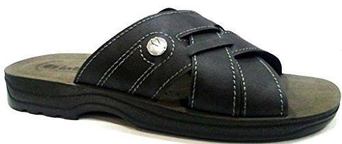 INBLU - Zapatillas de estar por casa de piel sintética para hombre negro negro 43