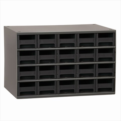 Akro-Mils 19320 17-Inch W by 11-Inch H by 11-Inch D 20 Drawer Steel Parts Storage Hardware and Craft Cabinet, Black Drawers
