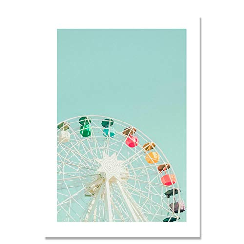 (XIXISA Paris Scenery Nordic Poster Surf Ferris Wheel Wall Pictures for Living Room Wall Art Canvas Painting Unframed 5070cm No Frame )
