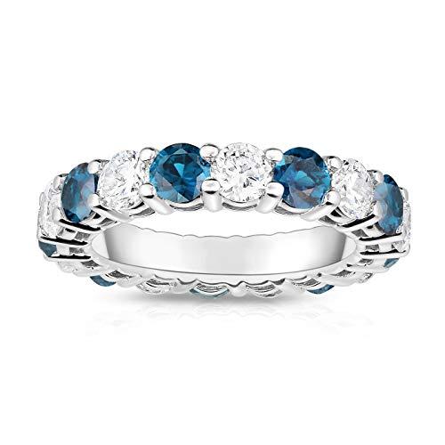 Noray Designs 14K White Gold London Blue Topaz & Diamond (4.00 Ct TW, SI2-I1 Clarity) Eternity - Gold Ring 4 White Ct Topaz 14k Blue