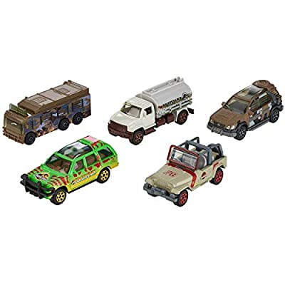 Matchbox Jurassic World Legacy Collection 5-Pack ~ Island Explorers ('97 Mercedes-Benz ML320, MBX Tanker, Ford Explorer Tour, Jeep Wrangler Staff Vehicle, Fleetwood RV Mobile Lab): Toys & Games