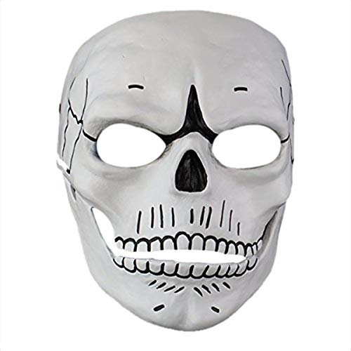 Cahayi Halloween Mask Men Scary Skull 007 Adult Full Facemask Masquerade Cosplay Party Home Collection -