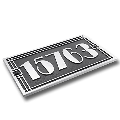 Art Deco Style House Address Plaque in Solid Cast Aluminium. This Hand Made in England Plaque is Created Especially for You to Your Specifications (310mm x 190mm) by The Metal Foundry Ltd