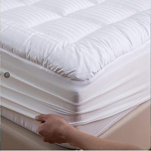 Niagara Sleep Solution 100% Cotton Sateen Mattress Topper Queen Pillow Top Stripe 300 Thread Count Extra Plush Overfilled Down Alternative Ultra-Soft Breathable, Fitted 8-21Inches Deep