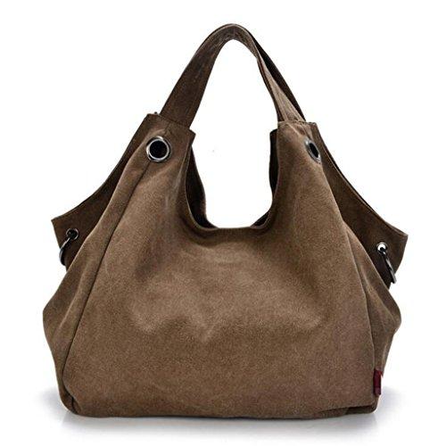 Sucastle sacchetti di svago sacchetto di modo del sacchetto di spalla di tela retro borsa bag Sucastle Colore:marrone Dimensione:37x35x16cm