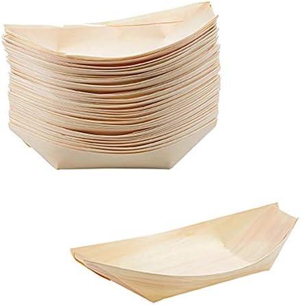 YUIP Platos de Madera en Forma de Barco,