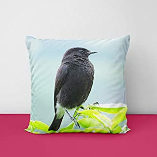 41kLWUhm3qL. SS320 Bird Pied Bush Square Design Printed Cushion Cover