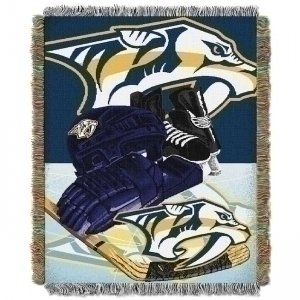 fan products of Officially Licensed NHL Nashville Predators Homefield Ice Advantage Woven Tapestry Throw Blanket, 48