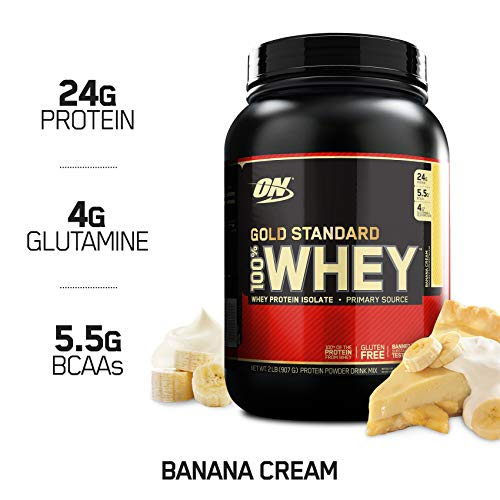 (OPTIMUM NUTRITION GOLD STANDARD 100% Whey Protein Powder, Banana Cream, 2 Pound)