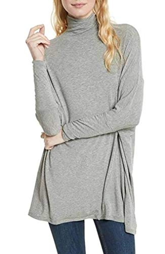 Free People Womens Oversized Heathered Turtleneck Top M, Heather Grey