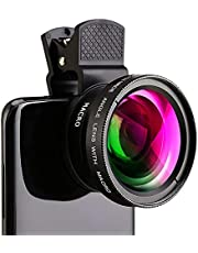 Cell Phone Camera Lens, 2 in 1 Clip-on Lens Kit with 0.45X Super Wide Angle&12.5X Macro Phone Camera Lens, Professional HD Camera Lens Kit for Most Smartphone/Ipad/Tablet, No Dark Corners