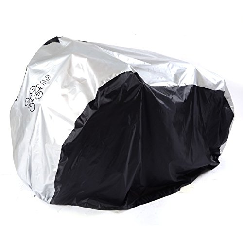 Universal Outdoor Waterproof Bicycle Cover Storage - Extra Large Heavy Duty PU Bike Cover for Mountain Bike, Road Bike, Electronic Bike, Cruiser Bike and Multiple Kids' Bike.(Silver, XL for 2 Bikes)