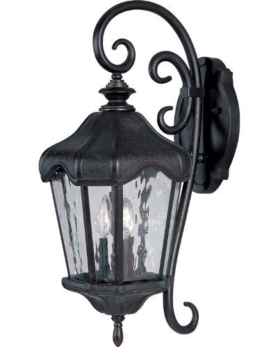 - Maxim 40274WGOB Garden VX 3-Light Outdoor Wall Lantern, Oriental Bronze Finish, Water Glass Glass, CA Incandescent Bulb , 18W Max., Wet Safety Rating, 2700K Color Temp, Acrylic Shade Material, 1355 Rated Lumens