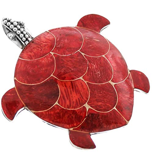 - 1 5/8'' RED Coral Inlay Turtle 925 Sterling Silver Pendant Brooch YE-69