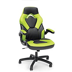 Essentials by OFM ESS-3085-GRN-OFM Racing Style Leather Gaming Chair - Ergonomic Swivel Computer, Office or Gaming Chair, Green (ESS-3085-GRN)