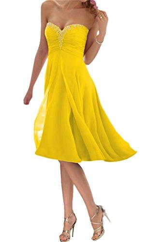 Promgirl House Damen Glamour Traegerlos A-Linie Chiffon Abendkleider Cocktail Ballkleider Kurz-48 Gelb Kurz