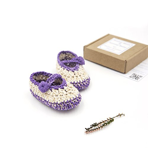 - 'Lily' Designer Hand Crocheted Baby Booties, Gift Box & Greeting Card - Nature White & Purple Socks (Newborn, 0-3 Months)