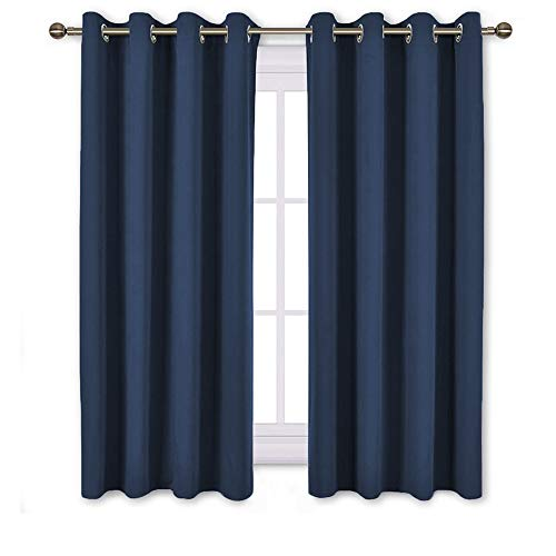 NICETOWN Blackout Curtains and Drapes for Kitchen - Thermal Insulated Solid Grommet Top Blackout Panels/Draperies for Kid
