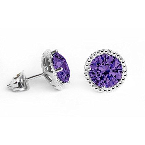 Swarovski Crystals Birthstones Studs Earrings Round Shape...