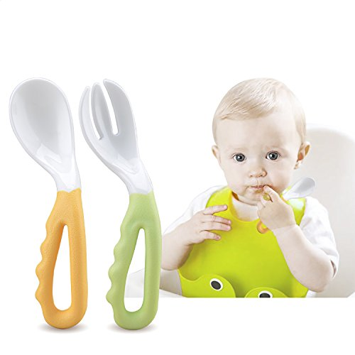 2 Pack Baby Spoon and Fork Set Toddler Training Learning Spoons Forks Graduates Fun Pack Utensils, 2 Piece Set