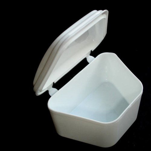 White Denture Bath Retainer Box Orthodontic Mouth Guard Dental Storage Container by ATB