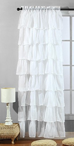 Solid WHITE Gypsy Ruffle Sheer – Crushed Voile Shabby Chic Window Panel / Curtain 54″ Wide X 96″ long