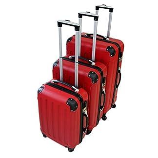 Todeco – Set de 3 maletas Trolley rojas – Maletas rígidas aseguradas con rueda