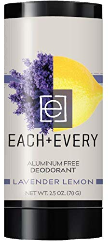 Each & Every All Natural Aluminum Free Deodorant for Women and Men, Cruelty Free Vegan Deodorant with Essential Oils, Non-Toxic, Baking Soda Free, Lavender Lemon, 2.5 Oz