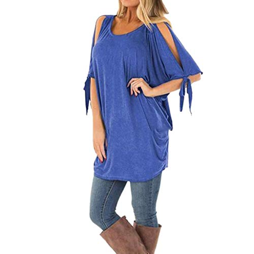 TWGONE Cold Shoulder Tunic Tops for Leggings for Women Bare Arms Short Sleeve Loose Lightweight Blouse(Large,Blue)