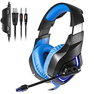 KQHSM Soft Mai Gaming Headset Gaming Headset Gaming Headphones Tour Glowing with Microphone Blue