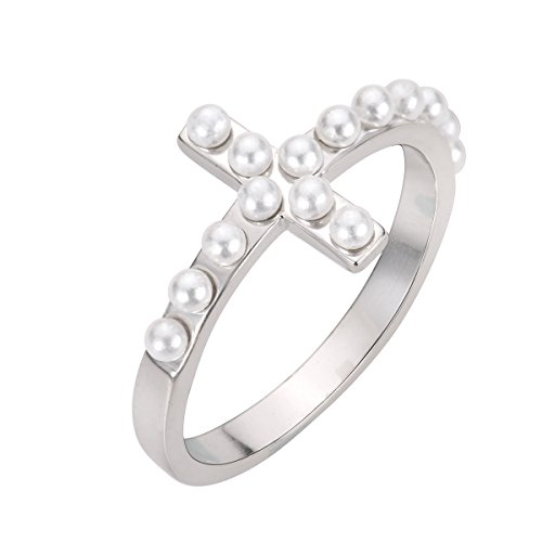CloseoutWarehouse Simulated Pearl Sideway Cross Ring Sterling Silver Size 11