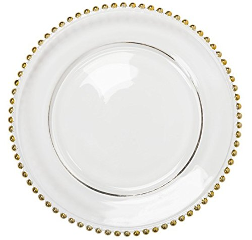 Charge It By Danny Beaded Round Glass Charger Plate, Gold Set of 4