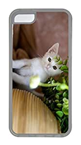 iPhone 5C Case, Customized Protective Soft TPU Clear Case for iphone 5C - Hide Cat Cover