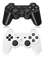 XFUNY Pair of 2 Wireless Bluetooth Game Controllers for PlayStation 3 PS3 Double Shock (1 Black + 1 White)