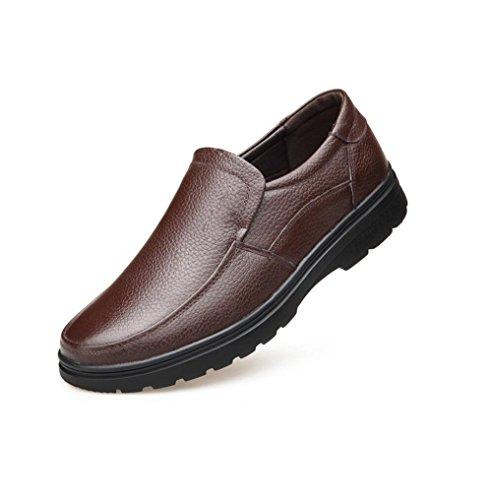 zmlsc Casual Hommes Chaussures en Cuir D'affaires Ronde Souple Point Point Ruban Saison Couleur Toile Sport Sandales Bottes Brown
