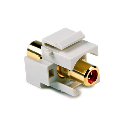 Office White Hellermann Tyton RCAINSERTR-FW RCA Coupler Module With Red Stripe