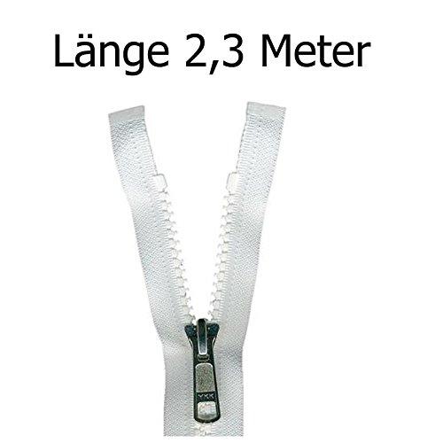 Reißverschluss aus Kunststoff für Bootsplanen, Persenning weiß 2,3 m